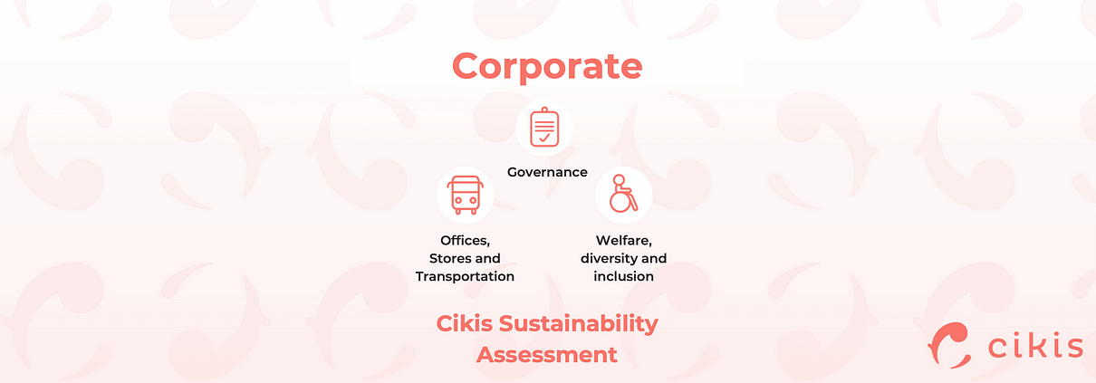 Cikis Sustainability Assessment for fashion companies: Governance, Offices, Stores, Transportation, Welfare, Diversity, Inclusion